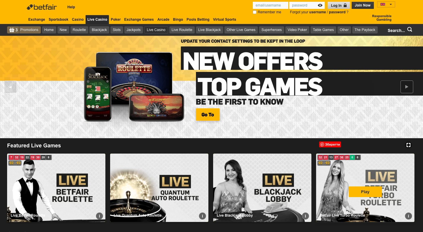 live casino BetFair