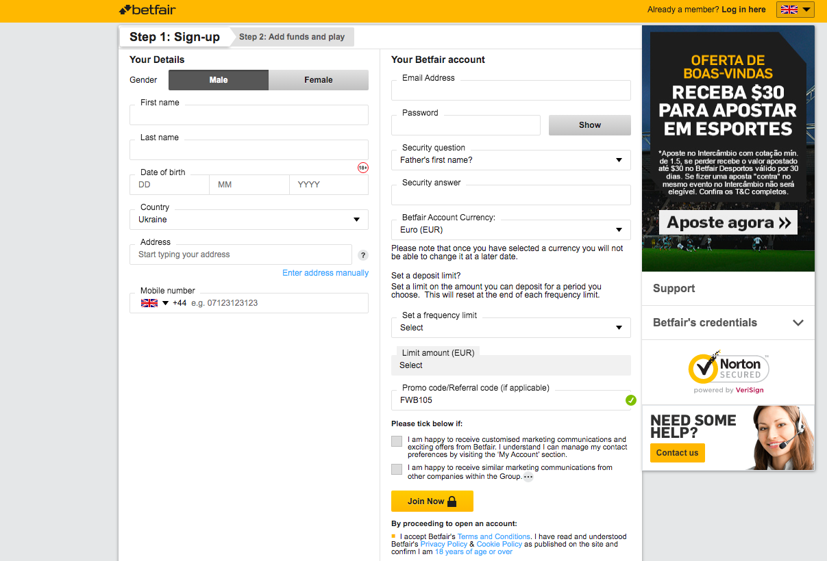 registration BetFair